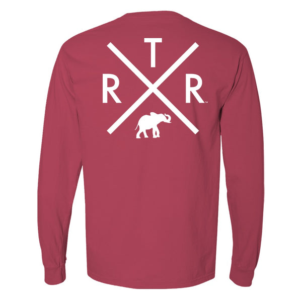 Alabama Crimson Tide Men's t-shirt with R.T.R and elephant in white. Long-sleeve T-shirt color is red.