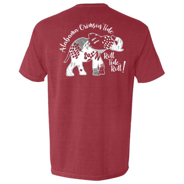 Abstract patterned elephant on women's Alabama Crimson Tide T-shirt in chili  red