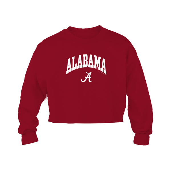 Block letter Alabama arched over Alabama's script A on red cropped women's Alabama Crimson Tide fleece  long-sleeve