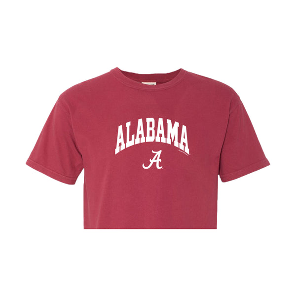 Block letter Alabama arched over Alabama's script A on red cropped women's Alabama Crimson Tide t-shirt