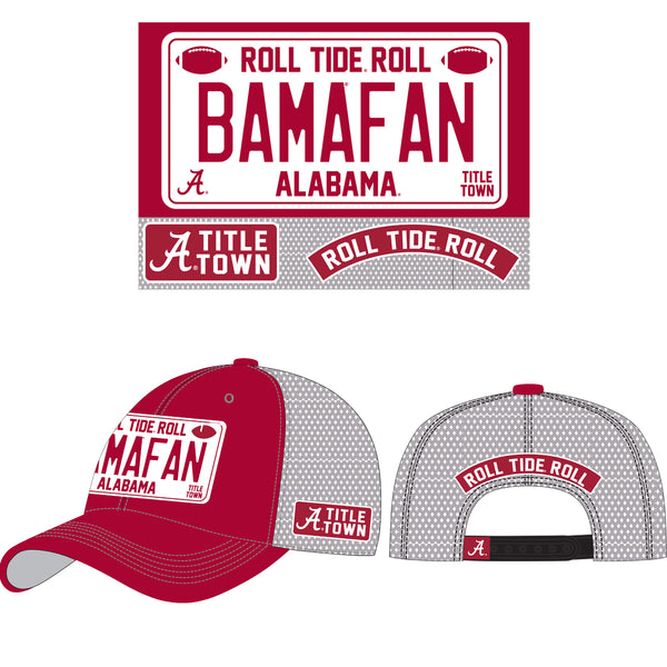 Bama Fan Unisex Alabama Crimson Tide Embroidered Trucker Hat in Crimson/Silver