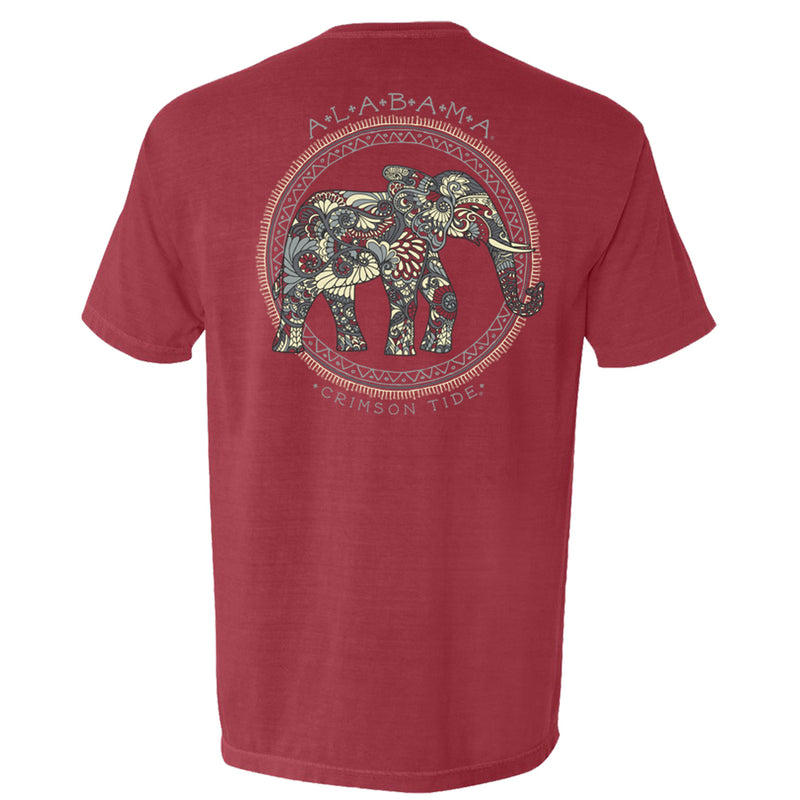An Alabama elephant made of boho flowers on women's Crimson Tide short sleeve t-shirt in crimson