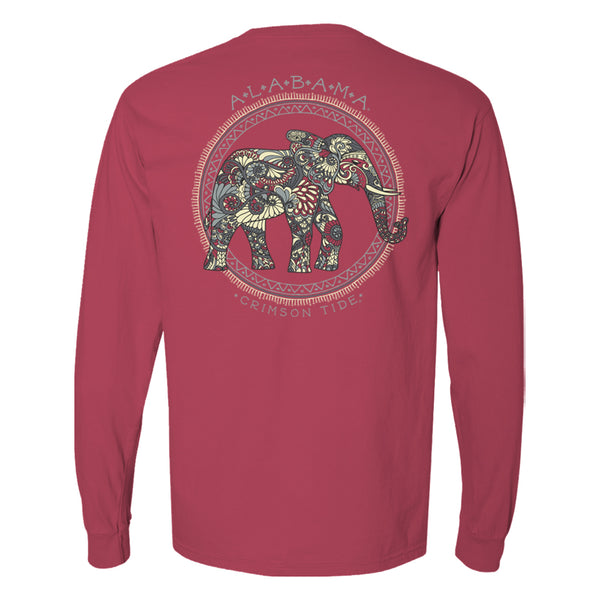 An Alabama elephant made of boho flowers on women's Crimson Tide long sleeve t-shirt in crimson