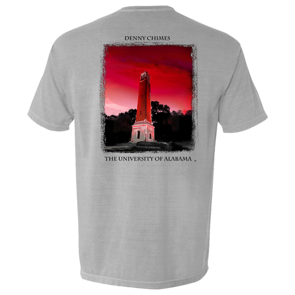 Bryant Denny illustration on Men's Alabama Crimson Tide short-sleeve T-Shirt. Shirt color is graphite