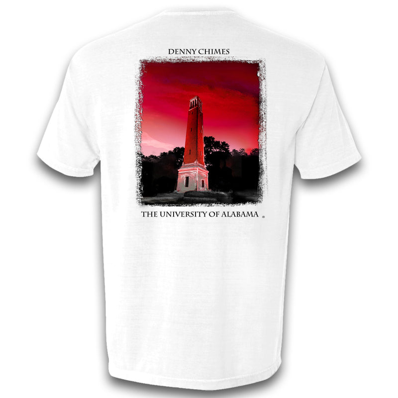 Bryant Denny illustration on Men's Alabama Crimson Tide short-sleeve T-Shirt. Shirt color is white.