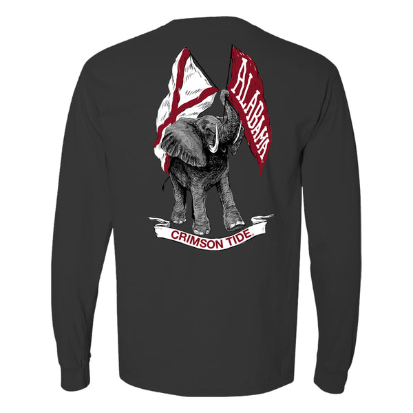 Elephant waving flags illustration on unisex Alabama Crimson Tide long-sleeve T-Shirt. Shirt color is dark grey