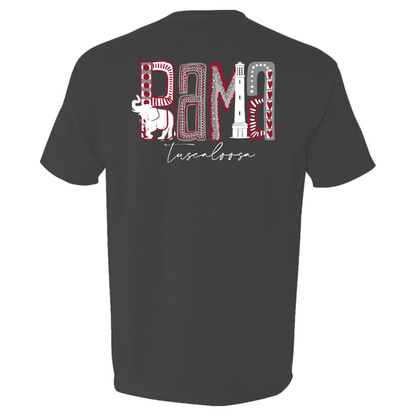 Design is the word bama made up of elephant, Bryant Denny, and grey and red dots and patterns on women's Alabama Crimson Tide short-sleeve T-Shirt. Shirt color is dark grey