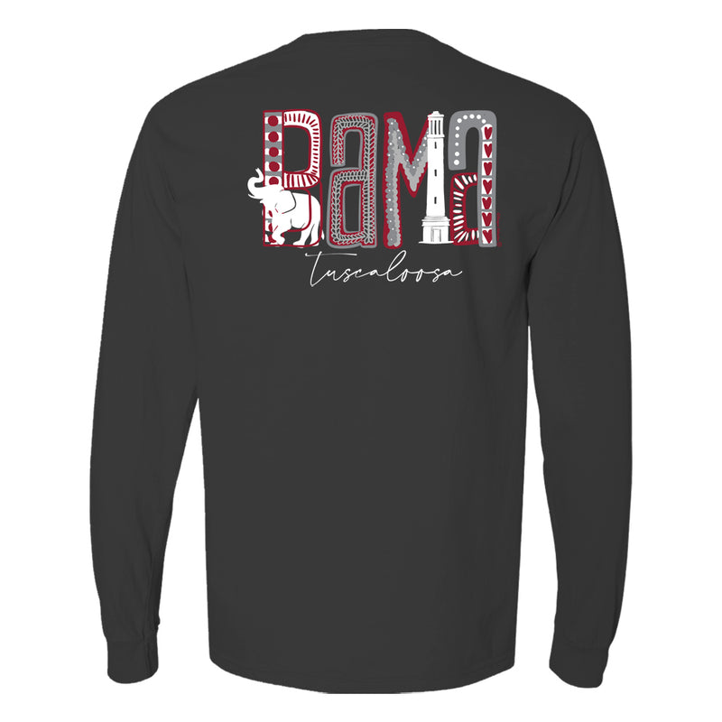 Design is the word bama made up of elephant, Bryant Denny, and grey and red dots and patterns  on women's Alabama Crimson Tide long-sleeve T-Shirt. Shirt color is dark grey
