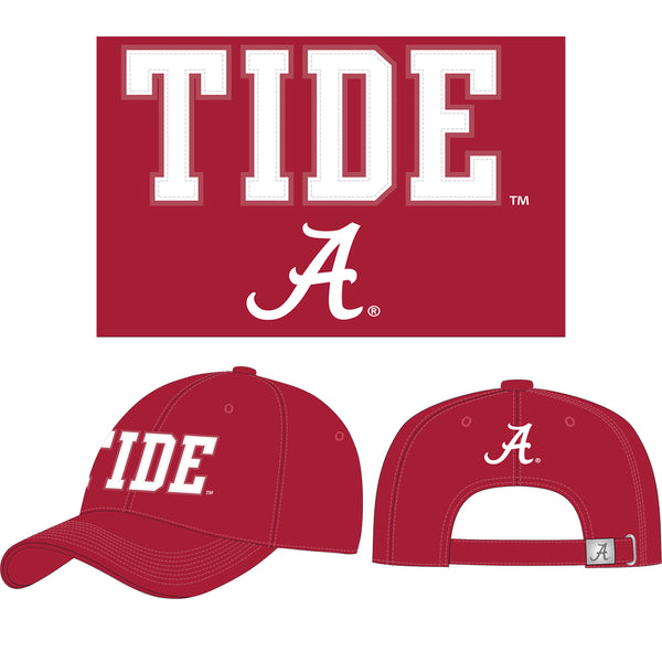 "Unisex Alabama Crimson Tide Twill Cap with Felt Applique that says ""Tide."" Includes Script A. Hat color is Crimson. Felt is white."