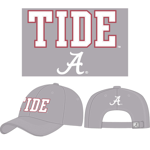 "Unisex Alabama Crimson Tide Twill Cap with Felt Applique that says ""Tide."" Includes Script A. Hat color is grey. Felt is white with red border."