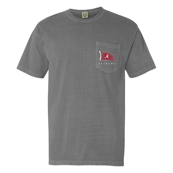 Flag Wave | Men's Alabama Crimson Tide T-Shirt | Grey