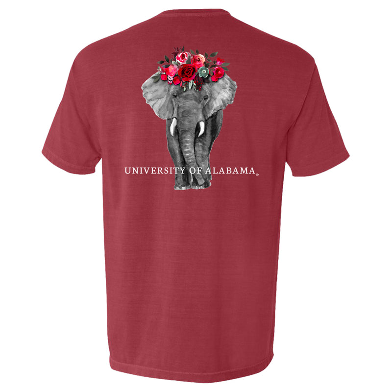 Alabama Crimson Tide Women's short-sleeve t-shirt with detailed 4-color picture of elephant with flower headdress.  T-shirt color is red.