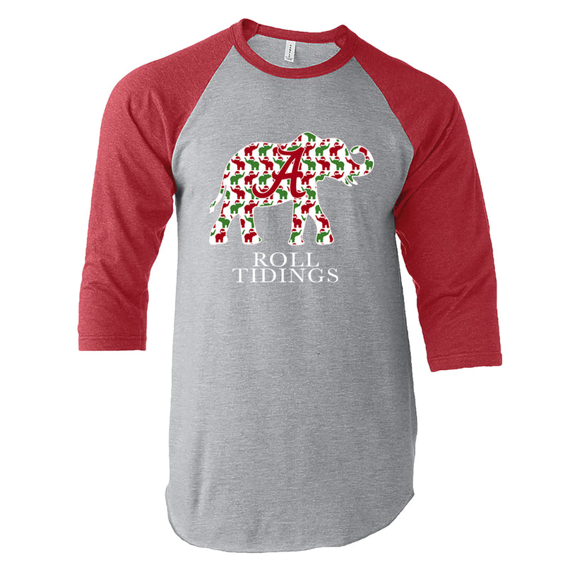 Alabama Crimson Tide women's t-shirt is Raglan-style 3 quarter length sleeve and features Alabama elephant with pattern of smaller red and green elephants.