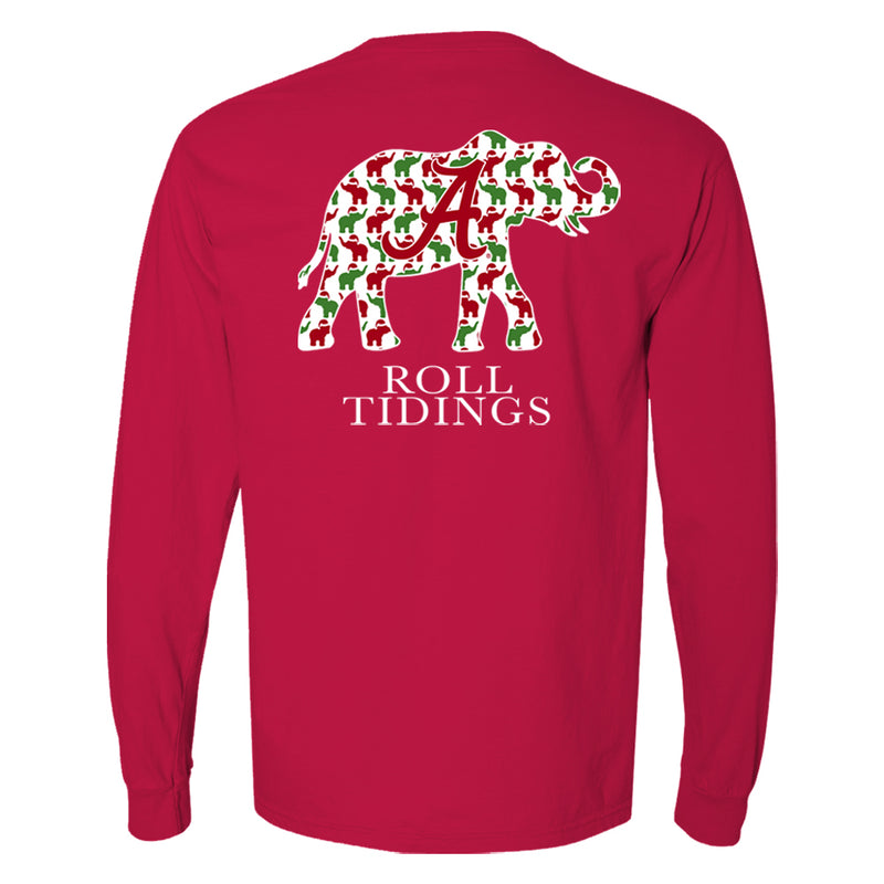 Alabama Crimson Tide women's t-shirt is long sleeve and features Alabama elephant with pattern of smaller red and green elephants. Shirt is red.