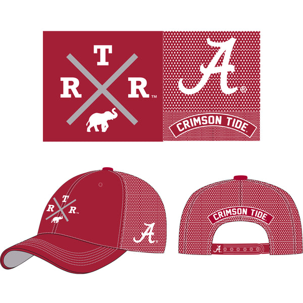 Unisex Alabama Crimson Tide Embroidered trucker hat in crimson. Design features R.T.R. and elephant. Adjustable Poly Mesh Trucker Cap with Embroidery and Applique