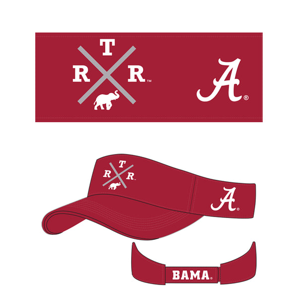 Unisex Alabama Crimson Tide Embroidered visor in crimson. Red visor with  R.T.R. and elephant in white.
