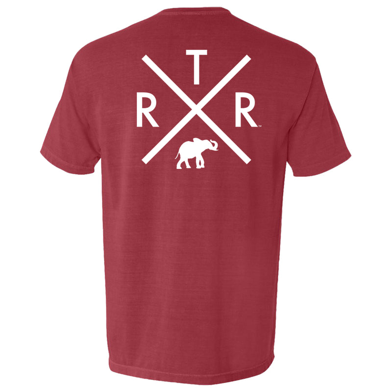 Alabama Crimson Tide Mens t-shirt with R.T.R and elephant in white. Short-sleeve T-shirt color is red.