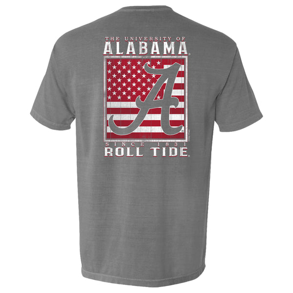 Men's Crimson Tide Football short sleeve t-shirt features wooden-style American Flag with Alabama Script A.  Shirt is short sleeve and color is grey.