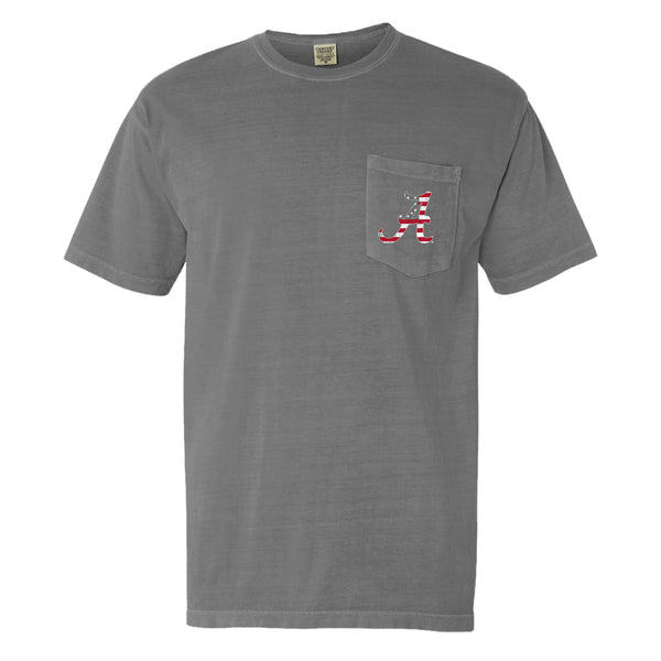 Wood Flag | Men's Alabama Crimson Tide T-Shirt | Grey