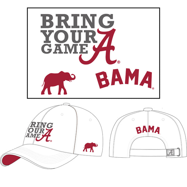 Bring Your A Game Hat Unisex Alabama Crimson Tide Embroidered white Twill Cap