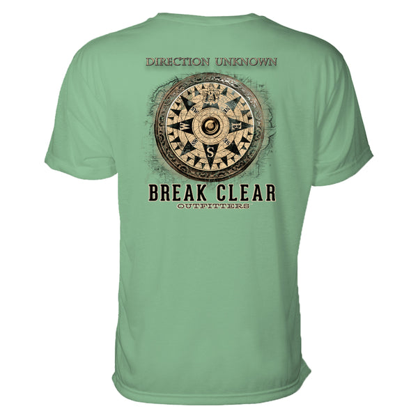 "An old fashioned nautical compass is the focal of this men's outdoors t-shirt. Above the compass reads ""direction unknown."""