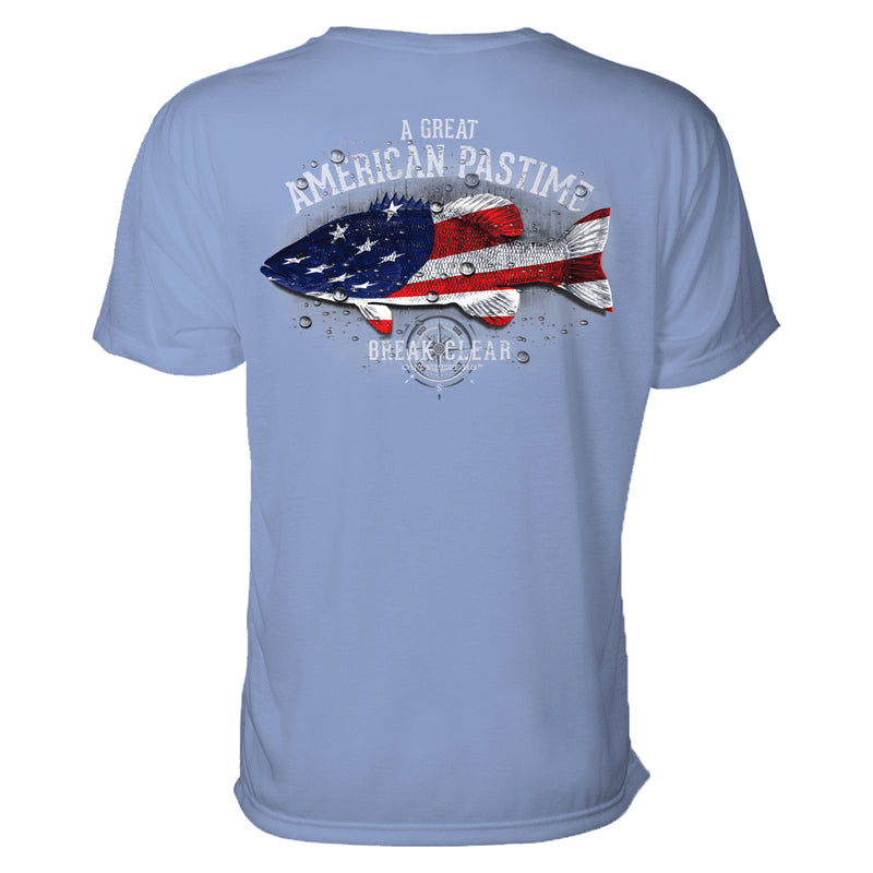 "This fishing t-shirt features the words ""A great American Pastime"" and an illustration of a fish overlaid with the American flag."