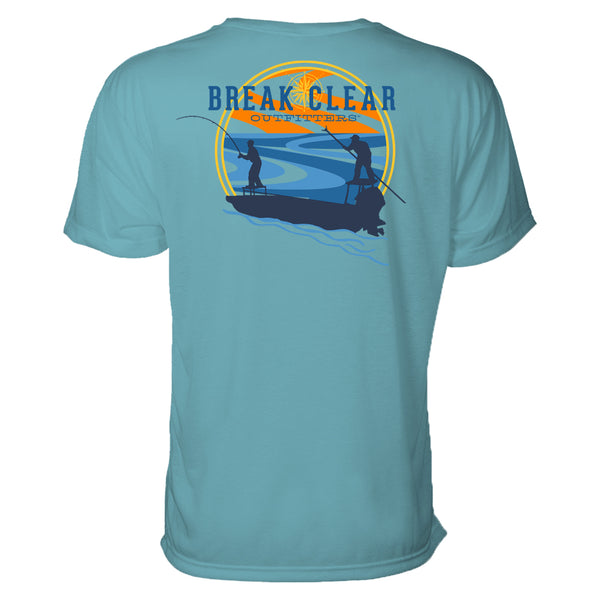 This men's fishing t-shirt features a blue silhouette of 2 men fishing on skiffs on the river. A sunset is behind them