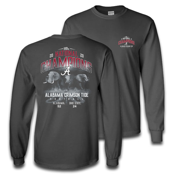 Field Elephants | Alabama 18x National Champions | Long-sleeve T Shirt | Grey
