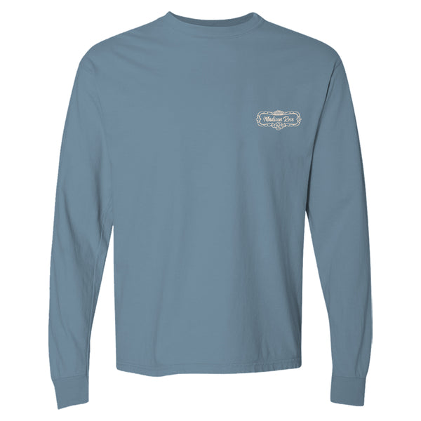 Madison Rose Women's Give Thanks Graphic Cotton Long Sleeve T Shirt | Give Thanks T Shirt | Slate
