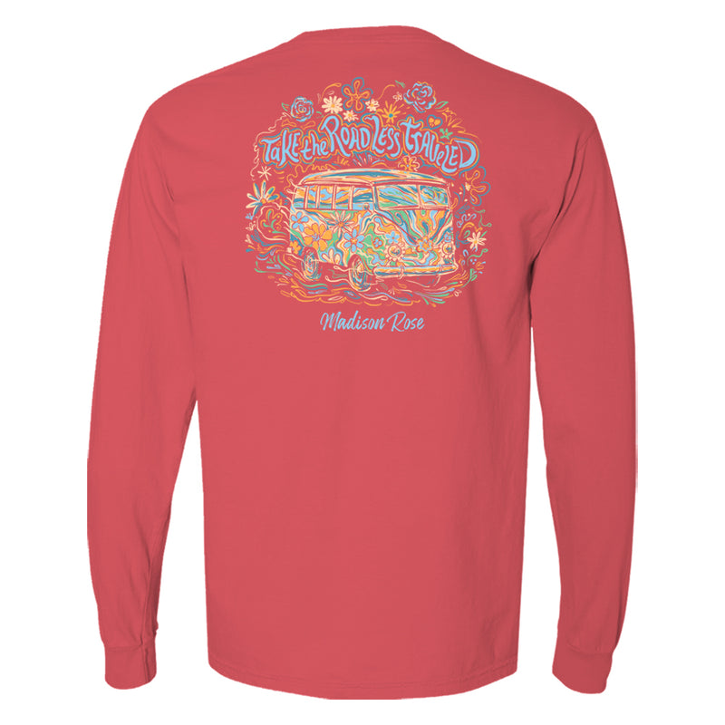"This cute women's t-shirt features a Volkswagen van graphically illustrated in a painterly fashion. Above the van reads ""Take the road less traveled."""