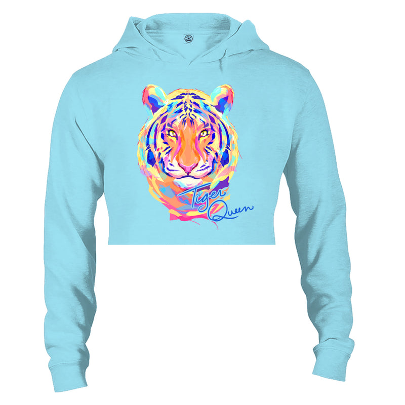 Madison Rose Women's Tiger Queen Raw Edge Fleece Hoodie | Tiger Queen | Pool