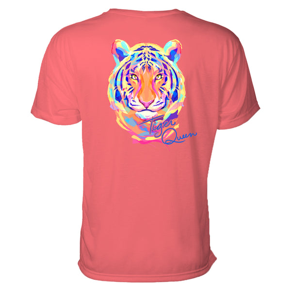 "This tiger graphic tee features a tiger head done in a painterly style with bright colors such as orange, yellow, pink, and blue. Under his chin to the right are the words ""Tiger Queen."""
