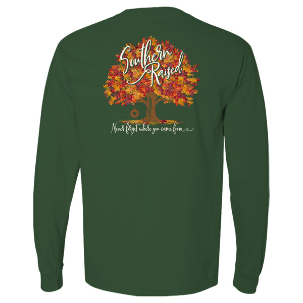 "Southern t-shirt depicts colorful autumn tree with words ""Southern Raised"" in the tree and ""Never forget where you came from"" under the tree."