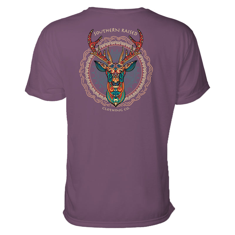 The deer head depicted on this southern t-shirt is illustrated in the boho style with rich jeweled colors