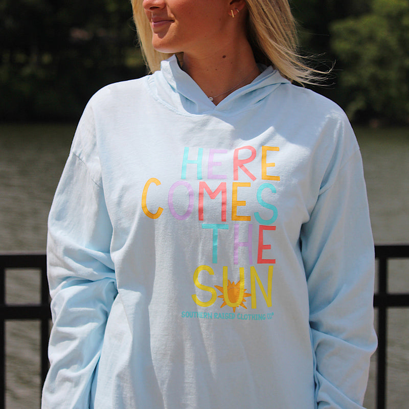Here Comes the Sun | Southern Raised Women's  Hoodie | Chambray