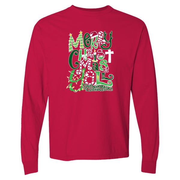 Merry Christmas Yall is a holiday t-shirt with seasonal colors and icons such as a cross, candles, wreaths, candy canes and more.