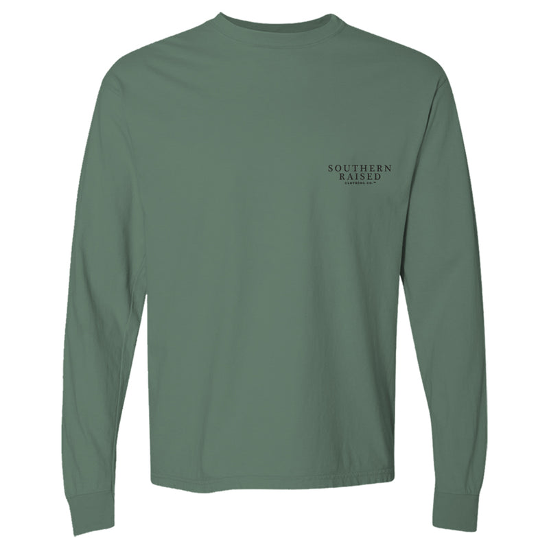 Sunset | Southern Raised Men's Long Sleeve T-Shirt | Light Green