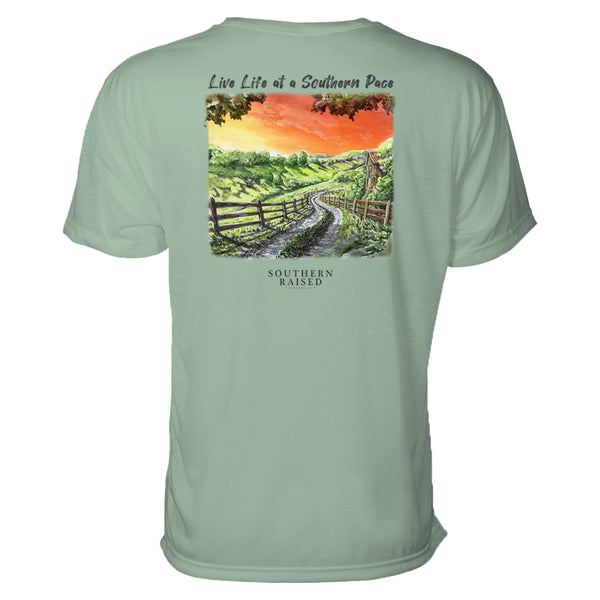 "Southern t shirt slogan is ""Live Life at a Southern Pace"" and scene is winding country road in a field at sunset. Hanes tee is stonewashed green."