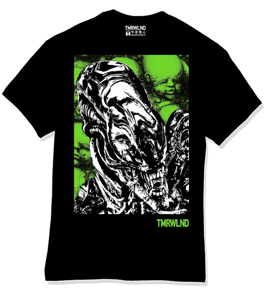 TMRWLND Xeno 79 T-Shirt.  Streetwear made in the USA.   Designed in Detroit MI. Hand printed in Los Angeles, CA.   Alien glows in the dark.  Black short sleeve crew neck, relaxed fit, unisex, pre shrunk fabric.  Limited edition of 40 produced in total.