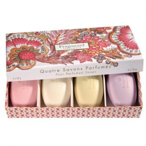 Pebble Soaps in a Patterned Gift Box - Set of 4