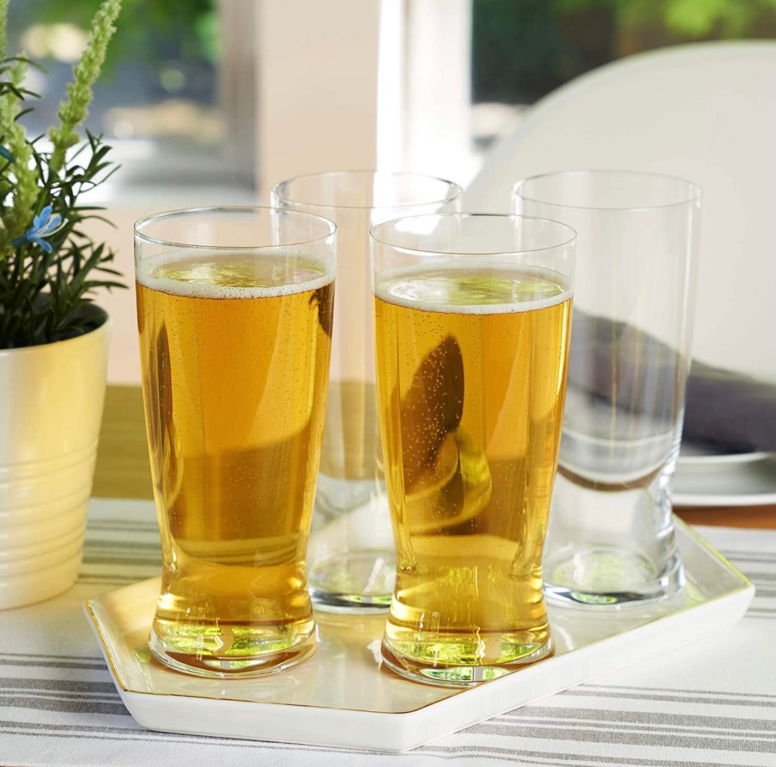 Classic Lager Beer Glasses - Set of 4