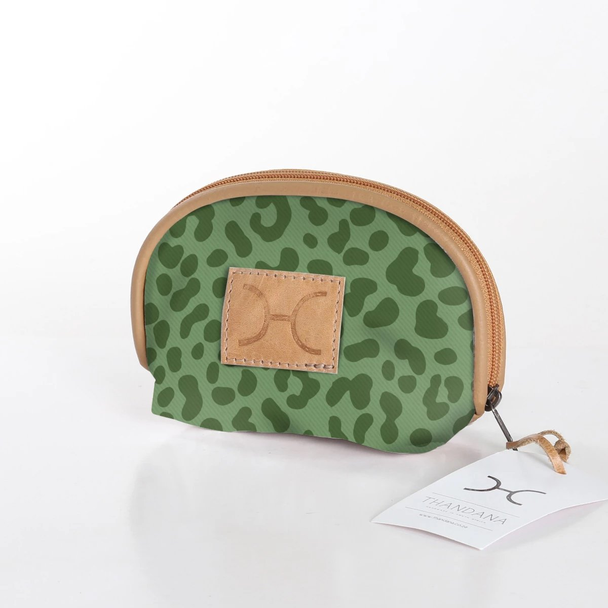 Laminated Fabric Make Up Bag - Olive Cheetah