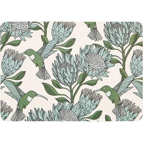 Protea Blue on White Melamine Placemat