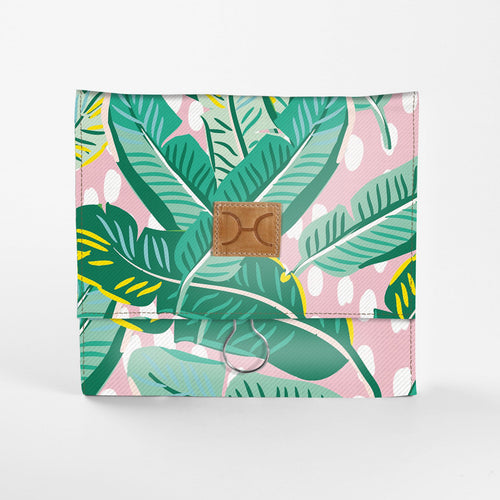 Laminated Fabric Roll Up Toiletry Bag - Spot The Leaf Bloom