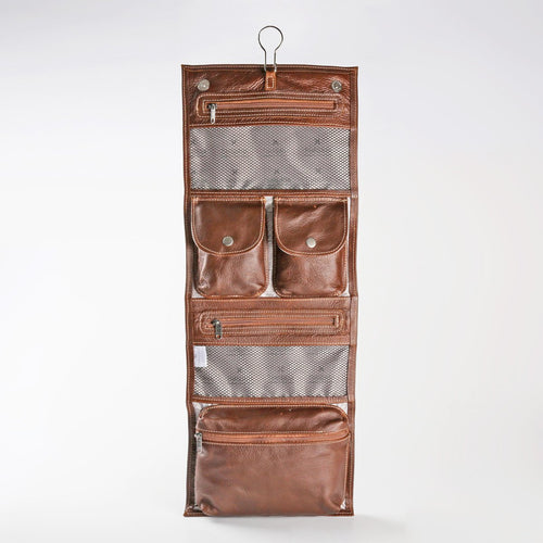 Leather Roll Up Toiletry -Tobacco Brown