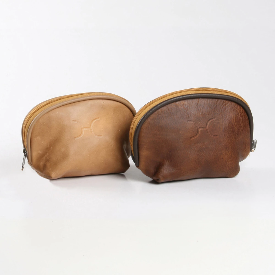 Leather Make Up Bag - Small - Tobacco Brown