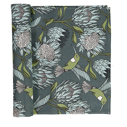 Table Runner - Protea Blue on Gunmetal
