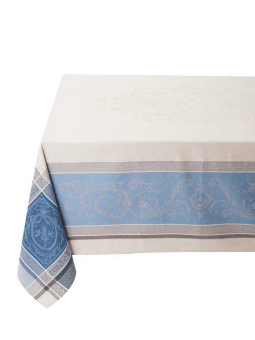 Jacquard Woven Tablecloth - Versaille Ecru Blue