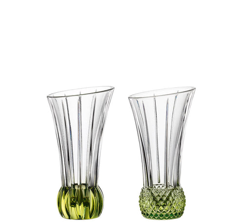 Nachtmann Spring Time Vases with Lime Base Set of 2 Mixed