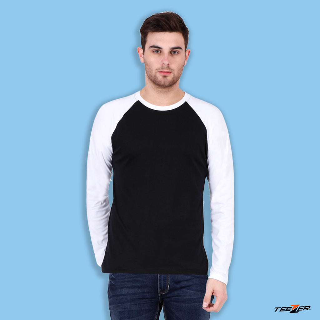 Black White Raglan Sleeves - Men